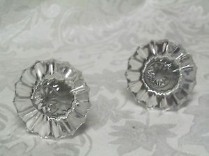 Antique Crystal Glass and Brass Dresser Drawer Cabinet Pulls Pair