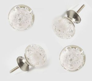 4 Clear Glass Bubble Knob Kitchen Cabinet Drawer Pull Chic Furniture Handle