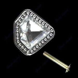 Diamond Clear Crystal Glass Drawer Cabinet Knob Door Pull Handle Hardware