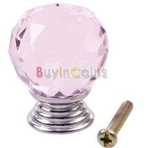 30mm Pink Round Crystal Glass Cabinet Knobs Drawer Furniture Handle Wardrobe