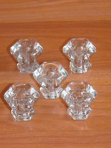 5 Old Vtg Glass Dresser Drawer Pulls Cabinet Cupboard Door Knob Set Original Lot