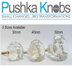 Pushka Glass Cupboard Drawer Cabinet Knobs Pulls 3 Sizes Small Medium Large