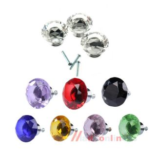 M3AO 10pcs 40mm Diamond Shape Crystal Glass Drawer Cabinet Pull Handle Knob