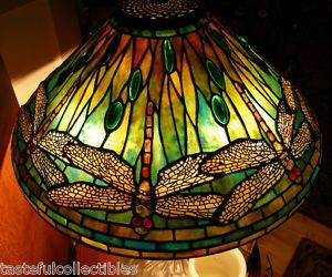 "Tiffany Reproduction Stained Art Glass Lamp Shade Dragonfly 20"" Wide Odyssey"