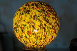 Stunning Art Glass Czech Mottled Deco Cased Glass Shade Globe FRANKART Fayral