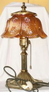 Brass Lamp Carnival Glass Shade Starlyte Imperial Glass Bakelite Plug Pull Chain