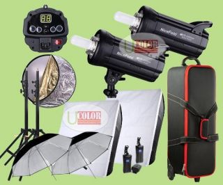 Professional 2 Studio Strobe Flash Kit 1200W Fan Cooled Photography Lighting