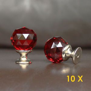 10 Pcs Red Crystal Glass Drawer Knobs Cabinet Handle Pulls