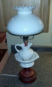 Vintage Fenton Hobnail Milk Glass Chamber Pot Pitcher Lamp Shade Glass Light