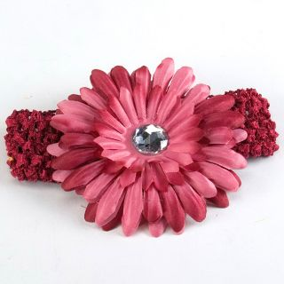 Lovely Baby Girl Hair Daisy Flower Bow Clip Headband Cute Wine Red New