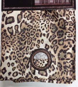 2 Piece Faux Silk Panel Animal Brown Leopard Print Grommets Window Curtain Drape