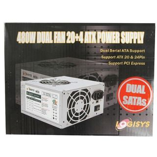 Logisys 480W Dual Fan Power Supply SATA ATX 20 24 Pin 150 x 140 x 85