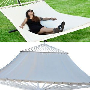 Extra Wide 59 Swing Outdoor Cotton Canvas Double Hammock Bed 330lb Capacity New