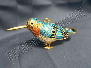 Pottery Barn Fantasy Cloisonne Bird Christmas Tree Holiday Ornament Decor Clay