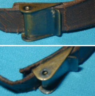 WWII U s Army Helmet Liner Leather Chin Strap Original Brass Buckle Hooks
