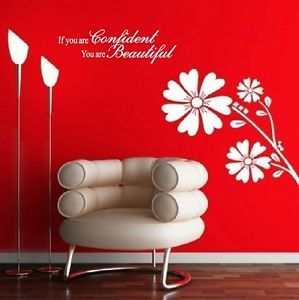 You Are Confident and Beautiful Vinyl Wall Quote Decal Home Decor Sticker