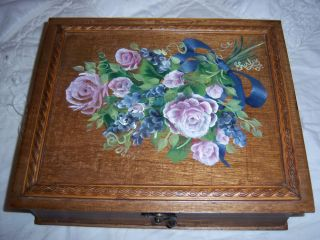 Home Decor Hinged Wood Box Velvet Lined Brass Hardware Toll Painted Roses