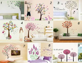 Flower Tree Wall Stickers DIY Vinyl Wall Art Home Decor Bedroom Removable Decals