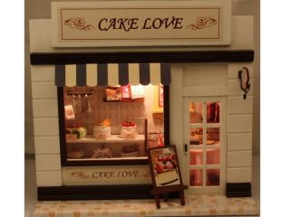 Dollhouse Miniature DIY Kit with Light Bakery Shop Honey Time Cake Love Gift