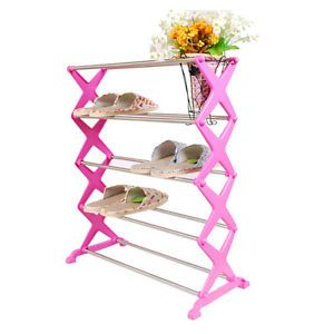 New ABS Stainless Steel Shoe Rack Home Organization Housekeeping White Pink