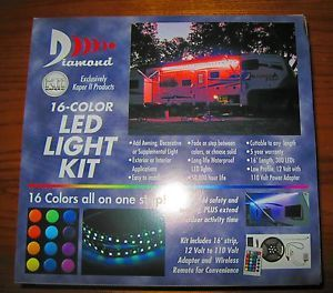 RV Awning Party Lights LED 16ft Remote Control Multi Color Kaper II Technology