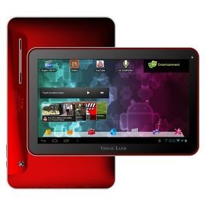 "Visual Land Prestige 10"" Android Tablet Me 110 16GB Red with 16GB Internal"