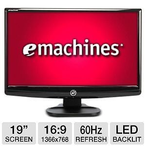"eMachines 19"" Widescreen LED LCD Flat Panel Monitor 5ms VGA Built in Speakers"