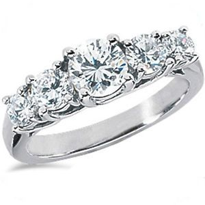 1 01 Carat Center Round Diamond 5 Stone Lucida Style Band 18K White Gold Ring