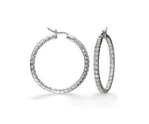 SI1 G Real Jewelry 1 01ctw Round Cut Diamond 14k White Gold Hoops Huggie Earring