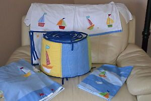 Pottery Barn Kids Baby Boats Sailboat Nautical Crib Bedding Good Condition