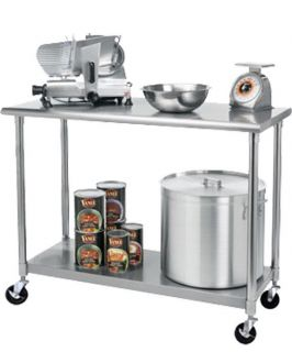 Stainless Steel Commercial Kitchen Prep Table Rolling Wheels Trinity Cart Island