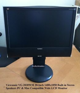 "Viewsonic VG2030WM 20"" Widescreen LCD Monitor with Built in Speakers PC Mac 0766907229219"