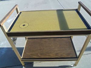 Kitchen Utility Rolling Cart Server Warming Tray 2 Tier Wood Grain Look Butler