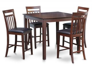 5pc Square Counter Height Pub Set Table with 4 Leather Chairs Mahogany Stool