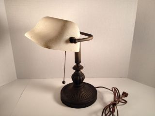 Banker Desk Lamp White Glass Shade Bronze Finish Base