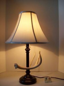 Real Whitetail Deer Elk Moose Antler Shed Horn Table Lamp Light Lamps with Shade