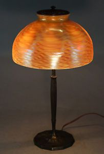 Tiffany Studios Damascene Art Glass Shade Bronze Lamp Base