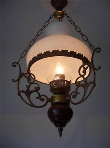 French Ceiling Light Oil Lamp Art Nouveau Wood Base White Glass Shade Flue