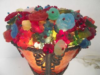 Vtg Czech Art Deco Glass Flower Basket Lamp Floral Bead Shade Mica Base Bohemian