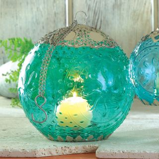 Aqua Blue Globe Pendant Candle Lantern w Chain Holder Lamp Indoor Outdoor Light