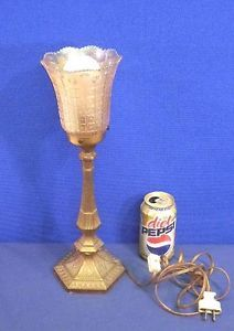 Vintage Antique Signed Nuart Carnival Glass Marigold Shade Torche Lamp Base Old