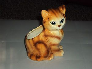 Vintage Lefton Japan Tiger Kitten Kitty Cat Planter Figurine 4906
