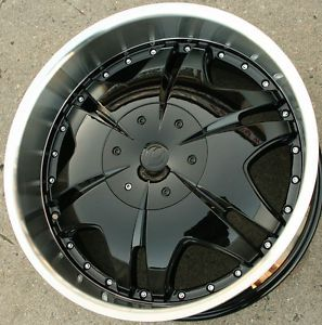 "Milano 725 22"" Black Rims Wheels Impala 5x5 22 x 9 5 5H 15"