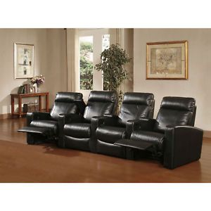 4pcs Genuine Leather Home Theater Seats Recliner Chairs