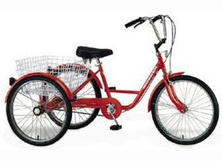"3 Wheel Adult Tricycle 24"" Trike 6 Speed Bike Red Gomier"