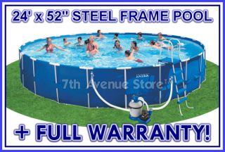 24' Round Intex Metal Frame Above Ground Swimming Pool