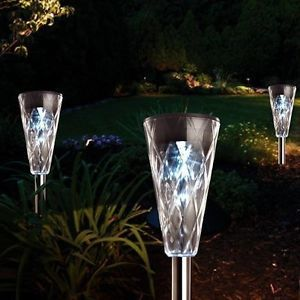 8 Stainless Steel Solar Powered White Outdoor Garden Patio Post Lighting Lights
