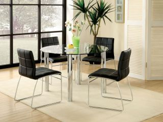 5 Piece Contemporary Round Black and Chrome Glass Top Dining Table and Chair Set
