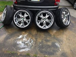 "22"" Status Alloy Wheels Chrome w Tires 265 35 22 5x4 5"