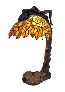 Art Nouveau Stained Glass Table Lamp with Nude Woman Figural